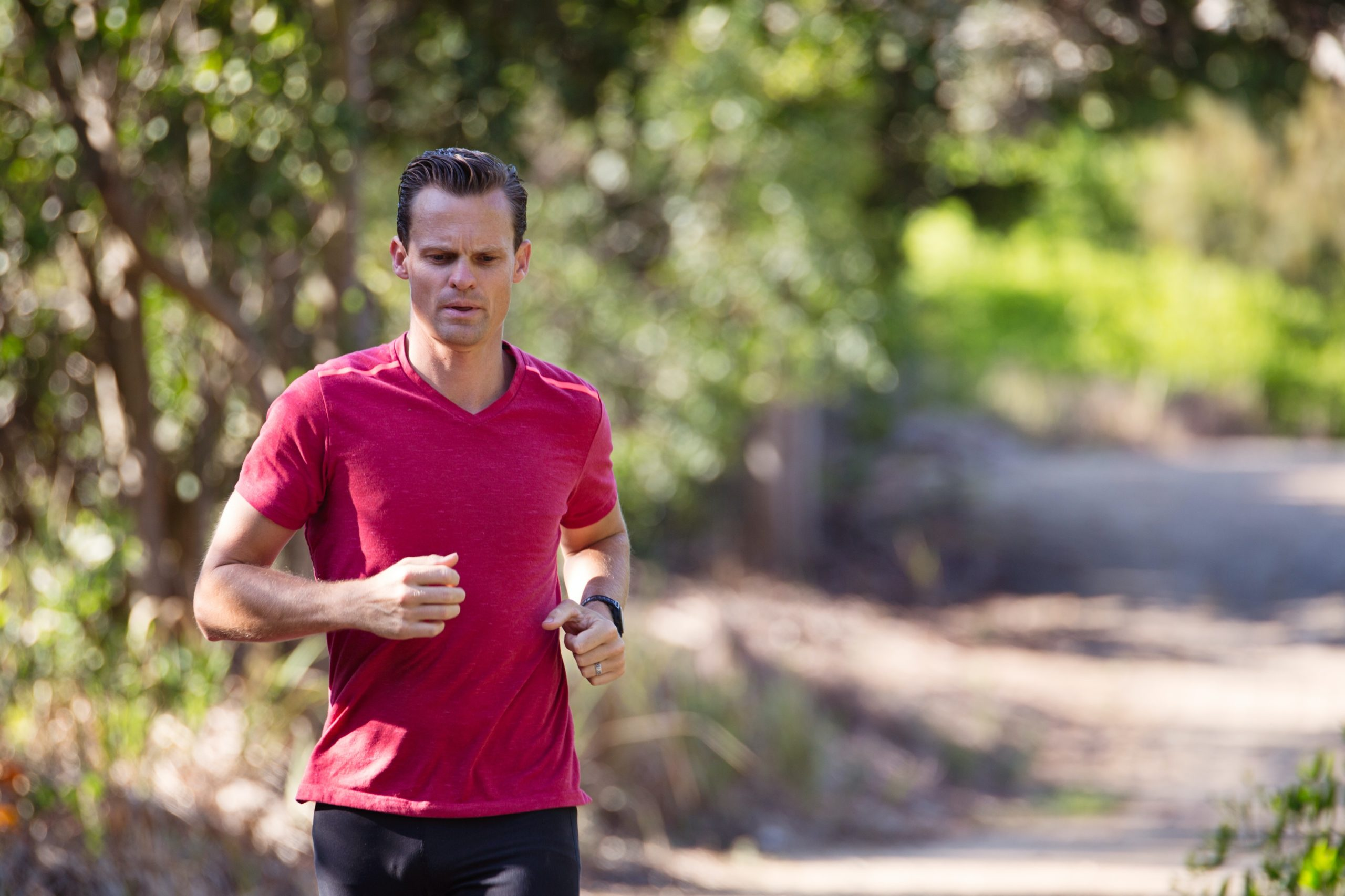 This man running is creating a healthy immune system.